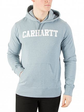 Carhartt WIP Dusty Blue Heather/White College Pullover Hoodie