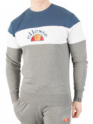 Ellesse Dark Grey Marl/Optic White/Blue Oriveto Sweatshirt