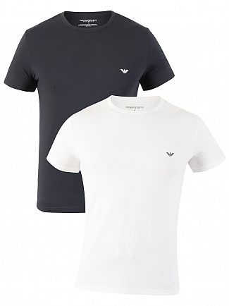 Emporio Armani White/Marine 2 Pack Stretch Cotton T-Shirt