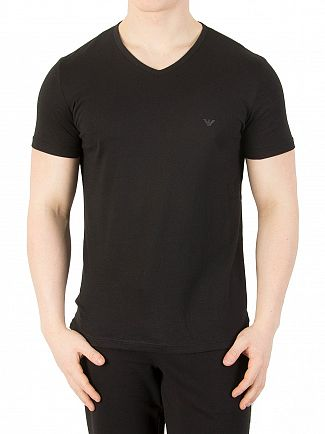 Emporio Armani Black 2 Pack V-Neck Pure Cotton T-Shirt