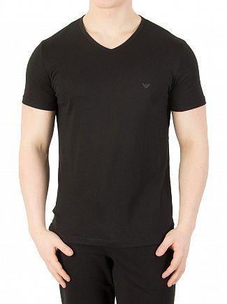 Emporio Armani Black 2 Pack V-Neck Pure Cotton T-Shirt