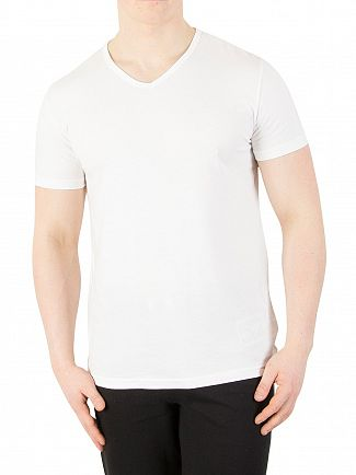Emporio Armani White 2 Pack V-Neck Pure Cotton T-Shirt