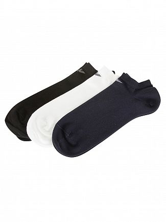 Emporio Armani Black/White/Navy 3 Pack Cotton Inside Socks