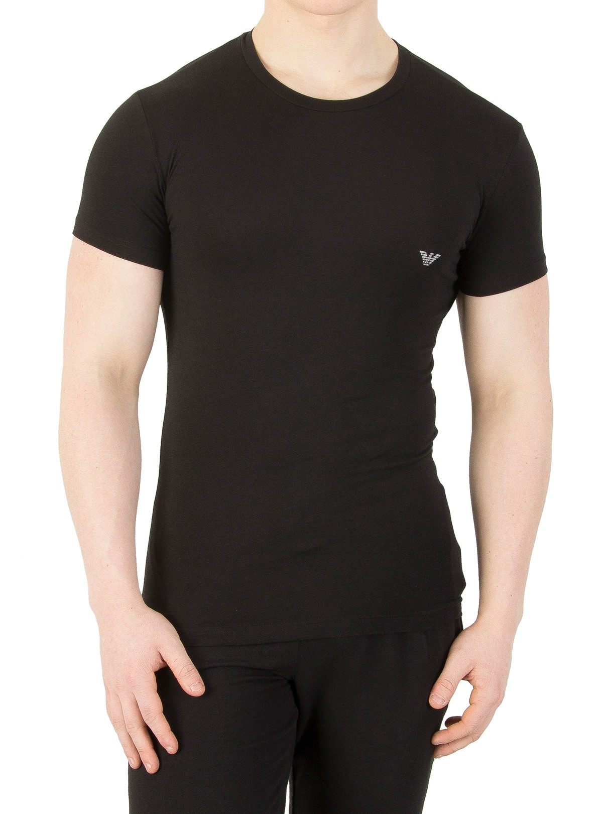 Emporio armani black crew logo t shirt standout for Black armani t shirt