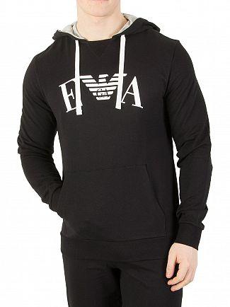 Emporio Armani Black Graphic Pullover Hoodie