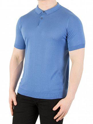 John Smedley Chambray Blue Rhodes Polo Shirt