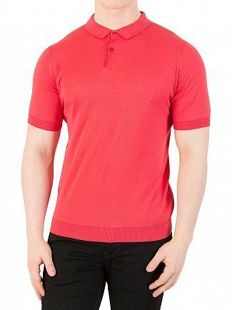 John Smedley Ruche Red Rhodes Polo Shirt