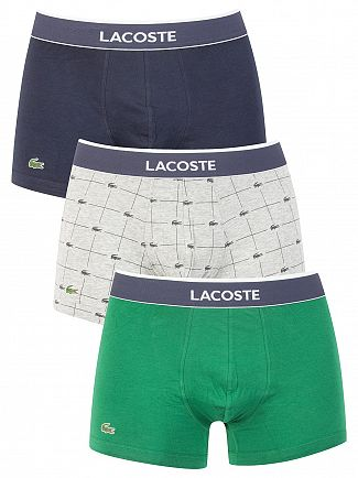 Lacoste Navy/Grey/Green 3 Pack Cotton Stretch Trunks