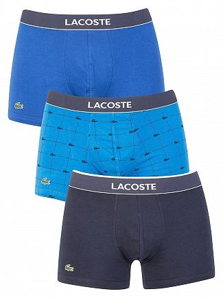 Lacoste Navy/Royal Logo/Blue 3 Pack Cotton Stretch Trunks