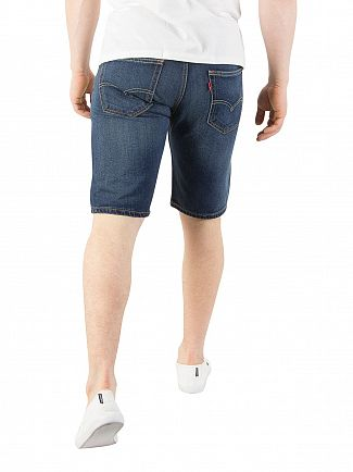Levi's Dark Blue 502 Taper Hemmed On The Roof Denim Shorts