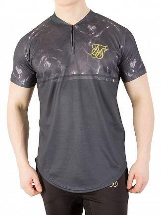 Sik Silk Black Marble Baseball T-Shirt