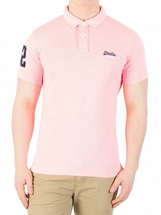 Superdry Fluro Pink Grit Classic Pique Polo Shirt