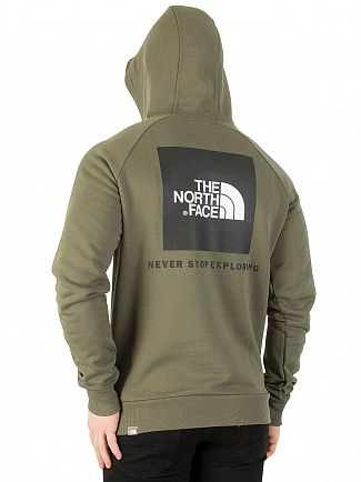The North Face New Taupe Green Raglan Red Box Pullover Hoodie