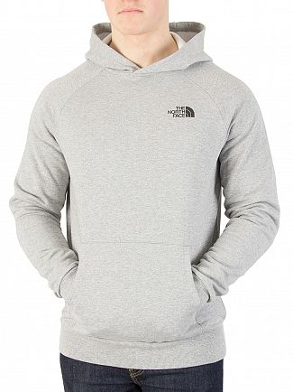 The North Face Light Grey Heather Raglan Red Box Pullover Hoodie
