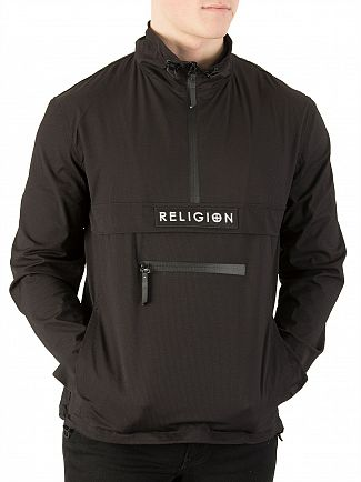 Religion Black Flux Half Zip Jacket