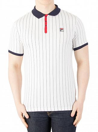 Fila Vintage White/Navy/Chinese Red BB1 Vintage Striped Polo Shirt