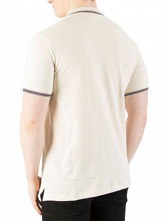 Fila Vintage Ecru Heather Marl Matcho 4 Logo Polo Shirt