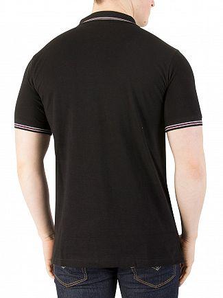 Fila Vintage Black Matcho 4 Logo Polo Shirt
