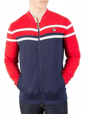 Fila Vintage Peacoat/Chinese Red/Cream Naso Chest Stripe Track Jacket