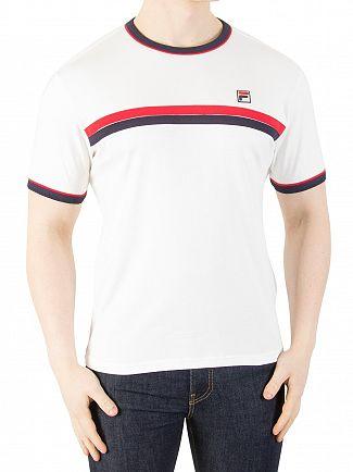 Fila Vintage White Razee Stripe T-Shirt