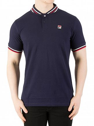 Fila Vintage Peacoat/Gard/Chinese Red Skipper Baseball Collar Polo Shirt
