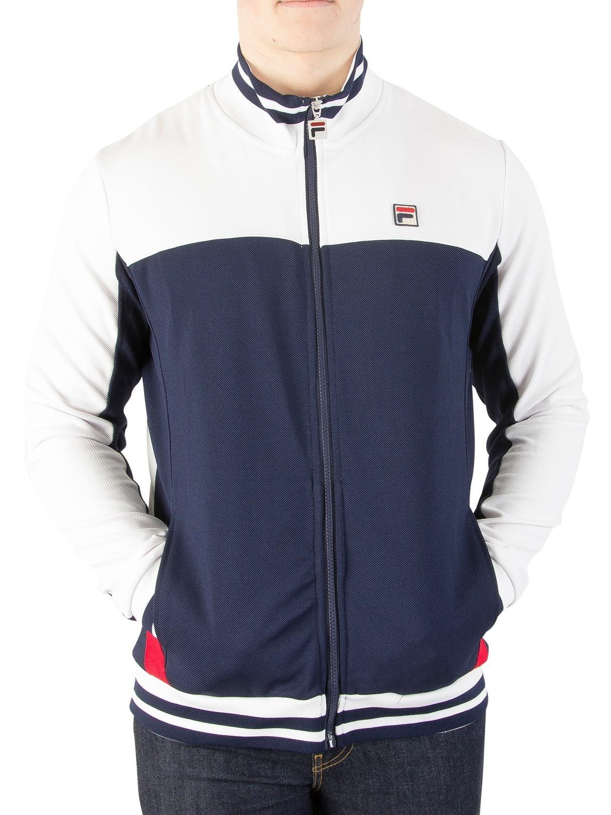 fcb43c2ecc355 Fila Vintage White/Peacoat/Red Tiebreaker Track Jacket | Standout