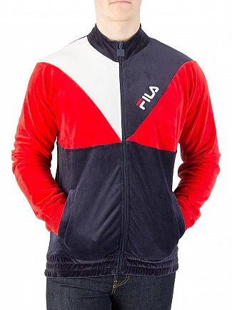 Fila Vintage Peacoat/Chinese Red Toby Velour Track Jacket