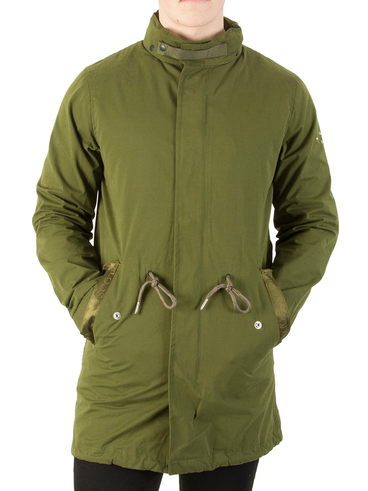 Leather Jackets & Coats|Men's Scotch & Soda Military Long Hooded Parka Jacket