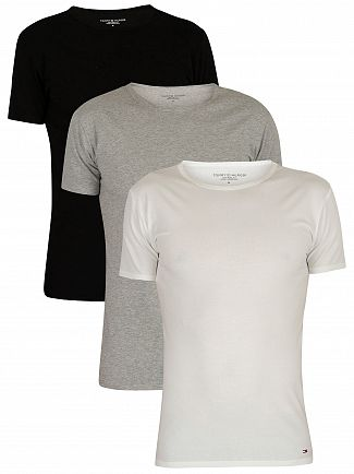Tommy Hilfiger Black/Grey Heather/White 3 Pack Premium Essentials T-Shirts