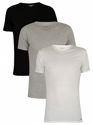 Tommy Hilfiger Black/Grey Heather/White 3 Pack Premium Essentials V-Neck T-Shirts