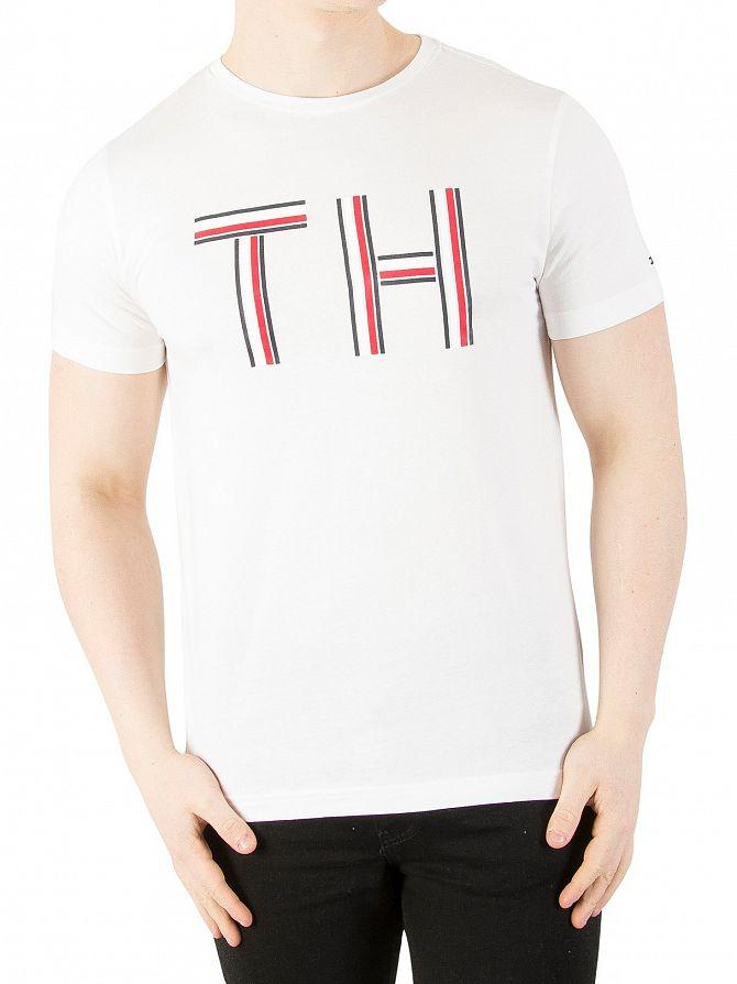 fb956eac Tommy Hilfiger Men's Logo Graphic T-Shirt, White | eBay