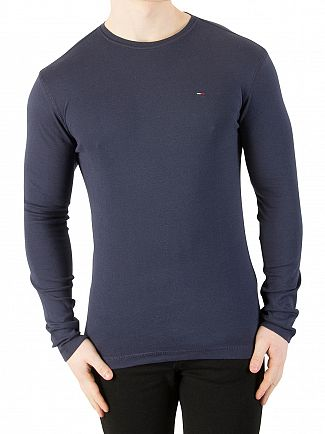 Tommy Jeans Black Iris Longsleeved Slim Fit T-Shirt