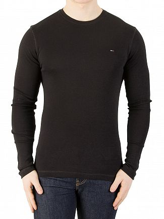 Tommy Jeans Tommy Black Longsleeved Slim Fit T-Shirt