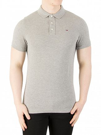 Tommy Jeans Light Grey Marl Original Slim Fit Polo Shirt