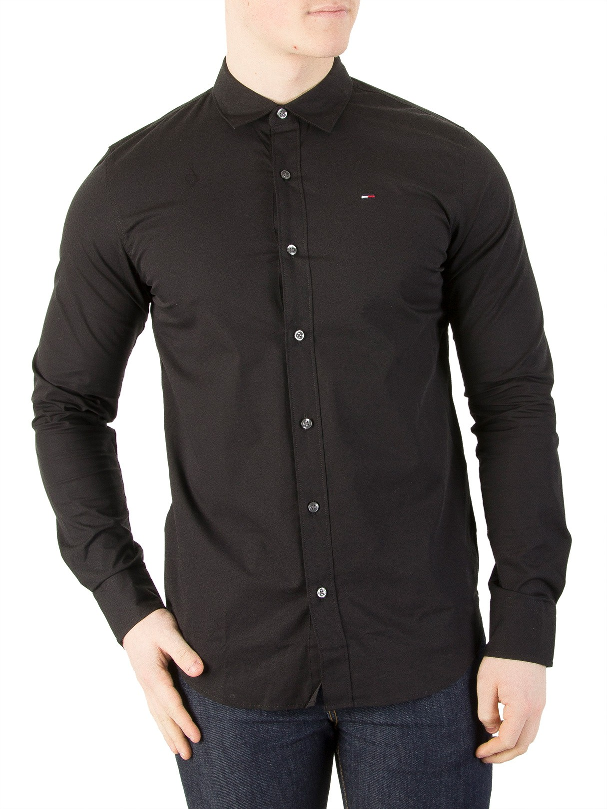 bdefb9c59 Tommy Jeans Tommy Black Original Slim Fit Stretch Shirt | Standout