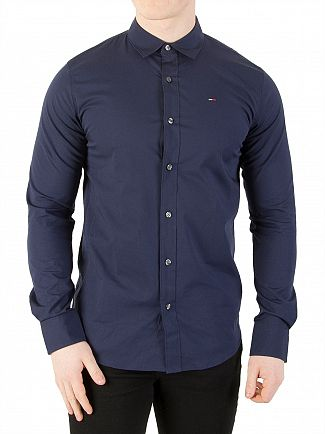 Tommy Jeans Black Iris Original Slim Fit Stretch Shirt