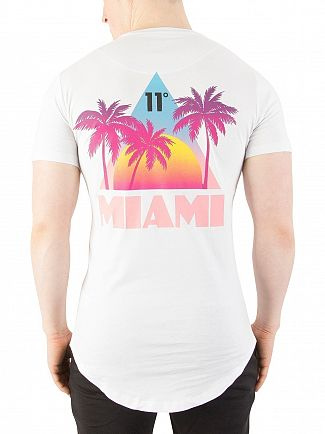 11 Degrees White Miami Back Print T-Shirt