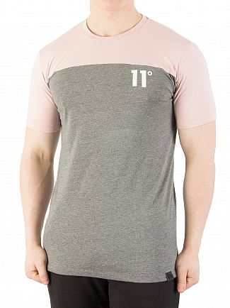 11 Degrees Dusty Pink/Charcoal Marl Block T-Shirt