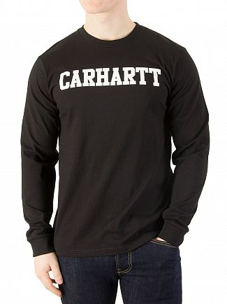 Carhartt WIP Black/White Longsleeved College T-Shirt