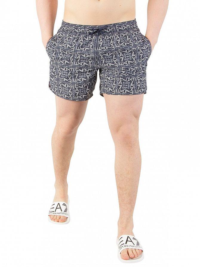 EA7 Blue All Over Print Swim Shorts