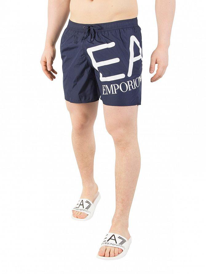 EA7 Medieval Blue Big Logo Swim Shorts