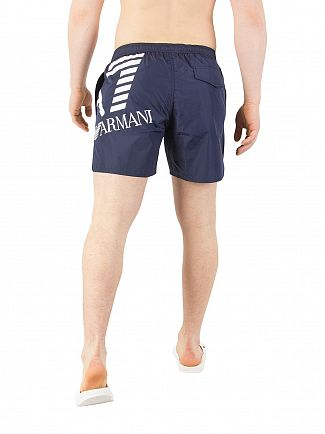 EA7 Medieval Blue Big Logo Swim Shorts