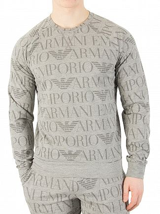 Emporio Armani Grey Longsleeved All Over Logo T-Shirt