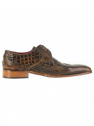 Jeffery West College Camel/Antick Camel Capone Polished Leather Shoes