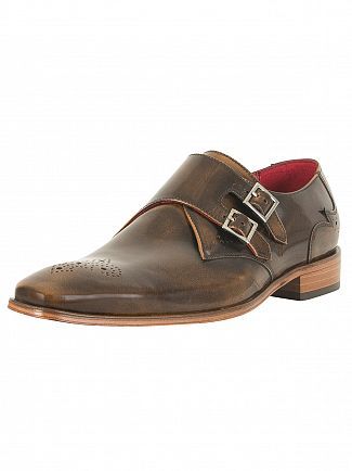 Jeffery West College Camel Scarface Polished Leather Shoes