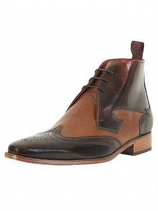 Jeffery West College Dark Brown/College Mid Brown Yardbird Polished Leather Mix Shoes