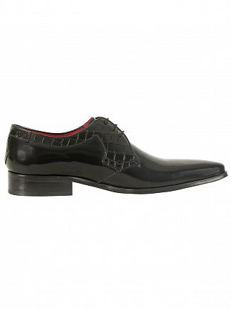 Jeffery West College Black/Antick Black Yardbird Polished Leather Shoes