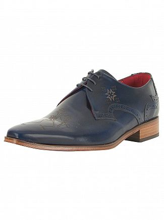 Jeffery West Vermont Dark Blue Yardbird Polished Leather Shoes