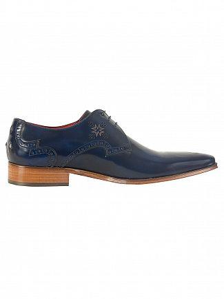 Jeffery West Vermont Dark Blue Yardbird Polished Leather Shoes