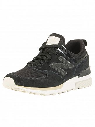 New Balance Black 574 Suede Trainers